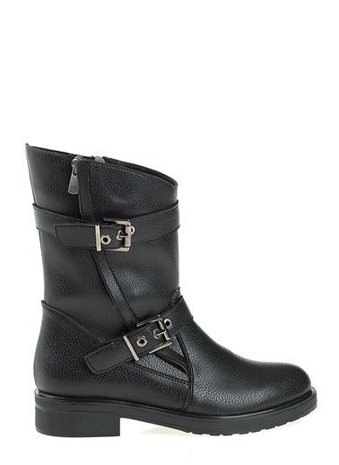D by Divarese Kalın Topuklu Uzun Bot Siyah